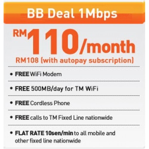 Streamyx Home BB Deal 1Mbps (RM 110)